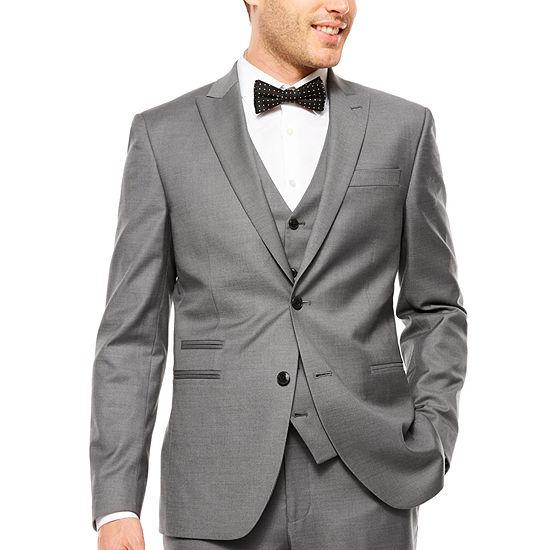 J.Ferrar Stretch Gray Sharkskin Suit Jacket, Color: Gray - JCPenn