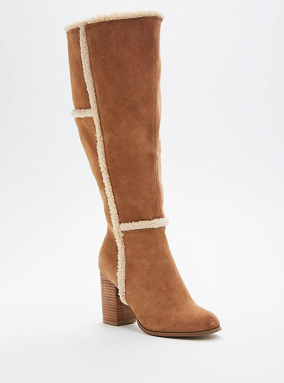 Plus Size - Faux Shearling Trim Heel Boots (wide Width & Wide Calf .