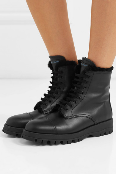 Prada | Shearling-lined leather ankle boots | NET-A-PORTER.C