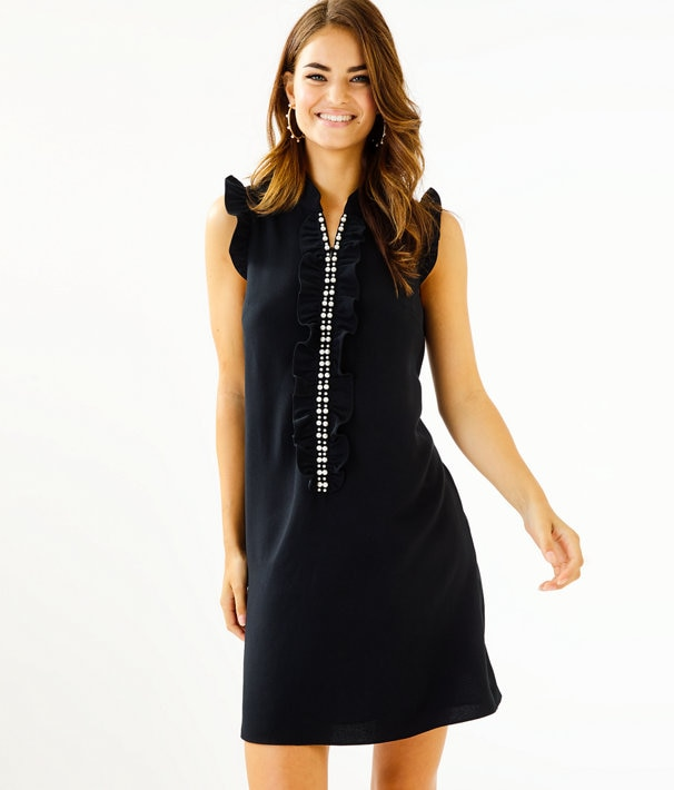 Adalee Shift Dress in Onyx | Lilly Pulitz