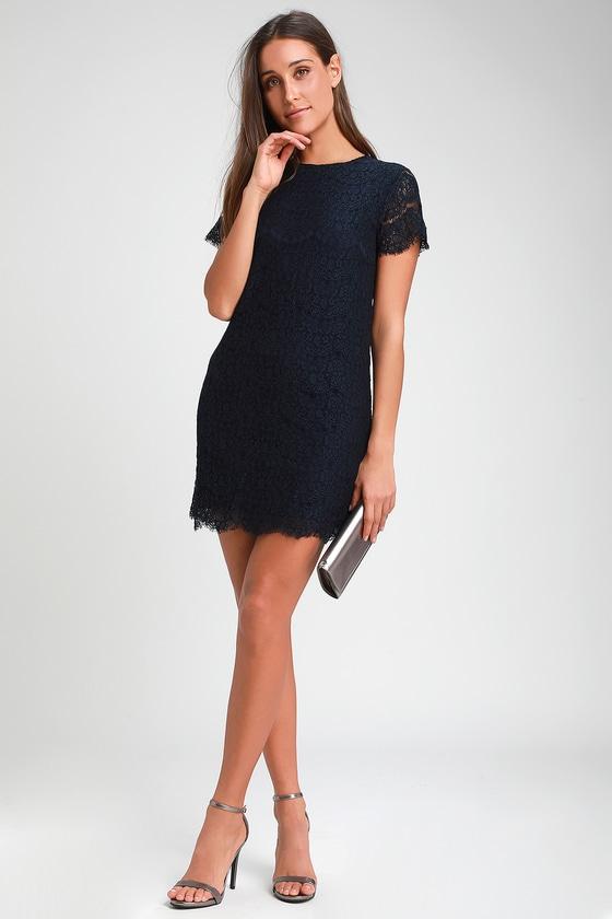 Pretty Lace Dress - Navy Blue Dress - Shift Dress - $49.
