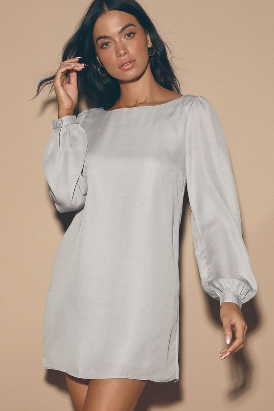 Pretty Light Grey Dress - Shift Dress - Long Sleeve Dress - $42.