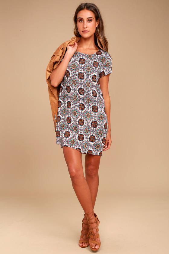 Fun Printed Dress - Shift Dress - Blue and Orange Dre