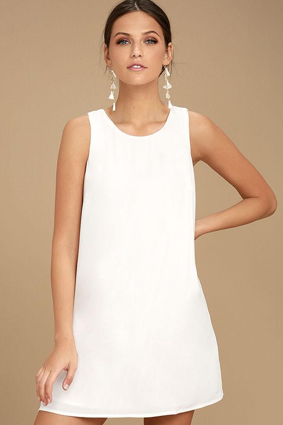 Lovely White Dress - White Shift Dress - Sleeveless Shift Dress .