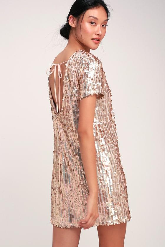Cool Blush Dress - Sequin Dress - Sequin Shift Dress - Pink Dre