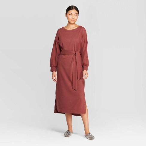 Women's Casual Fit Long Sleeve Boat Neck Midi Shift Dress .