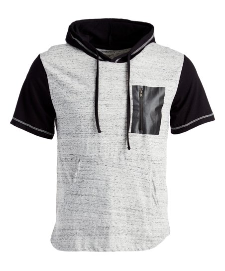 Overdrive White & Black Pocket-Accent Short-Sleeve Hoodie - Men .