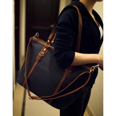 Simple Women s Shoulder Bag With Color Block and Rivets Design .