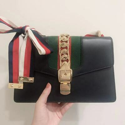 Gucci Sylvie Small Leather Shoulder Bag Women's Navy | eB