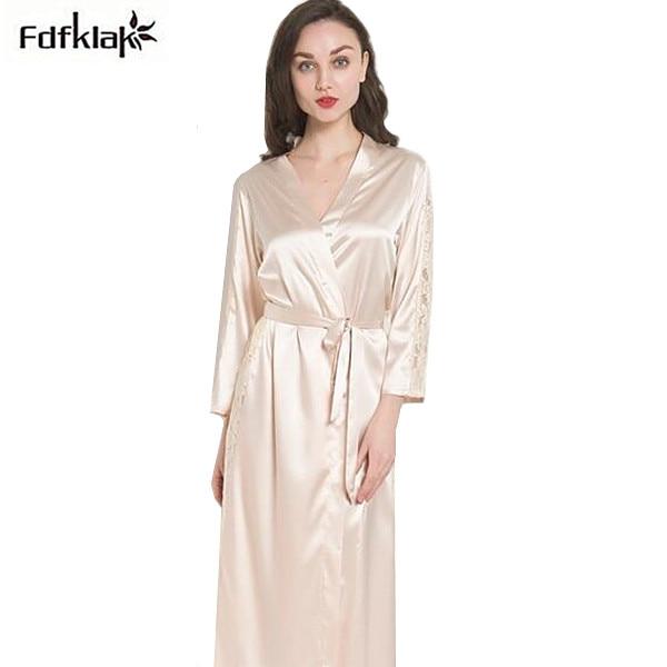Silk robes for women new spring autumn ladies sleepwear robe long .