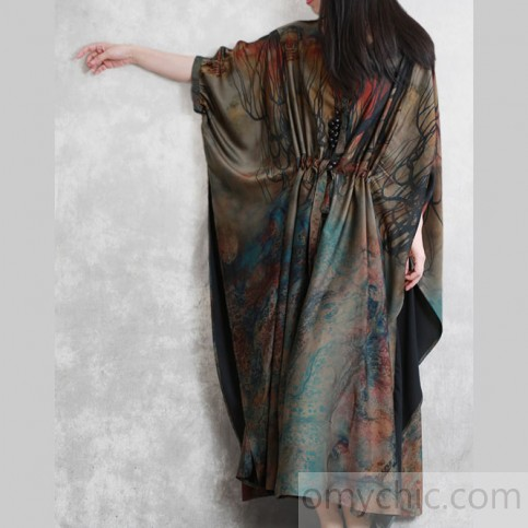 Handmade o neck batwing sleeve silk Robes Inspiration dark green .