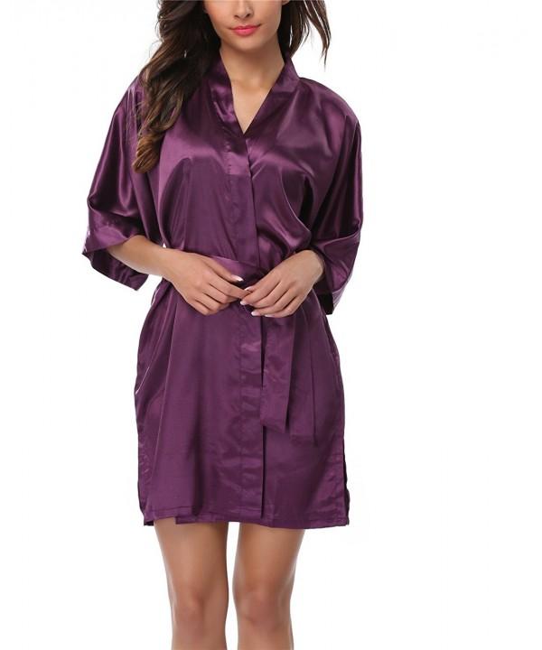Women's Satin Kimono Robes Short Silk Bathrobes Wedding Robes For .