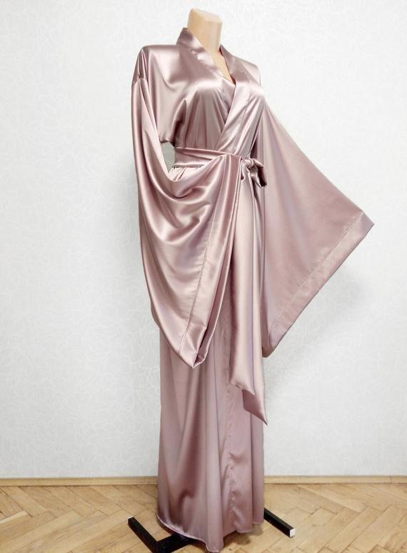 Silk kimono robe, bridal robe long, floor length robe, plus size .