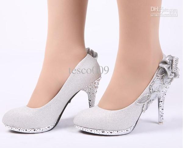 New Glitter Silver Bridal High Heels Shoes Wedding Bridal .