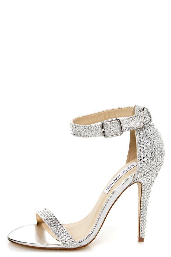 Steve Madden Realov-r Silver Rhinestone Dress Sandals .