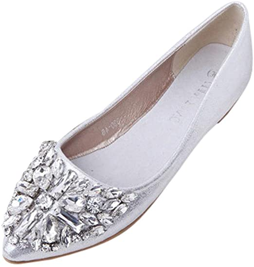 AIMTOPPY Women's Pointed Toe Ladise Shoes Casual Rhinestone Low .