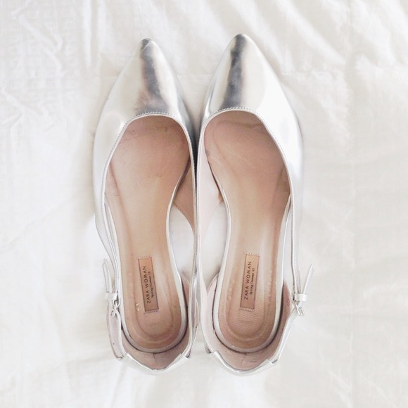 Zara Shoes | Reserved For Bellalopez Silver Flats | Poshma
