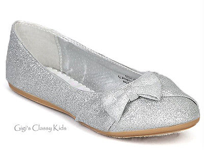 Girls Silver Flats Shoes Toddler Youth Kids Glitter Mary Jane .