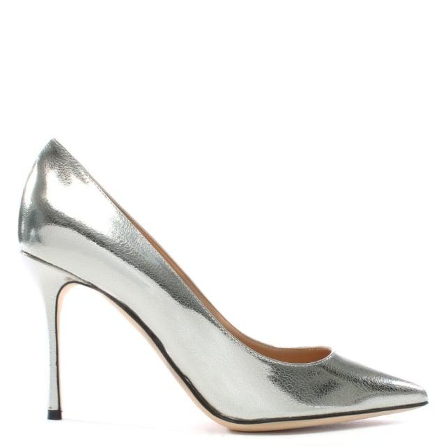 Sergio Rossi Godiva Silver Metallic Leather High Heel Court Sho