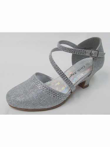 Girls Silver Low Heel Glitter & Rhinestone Sh