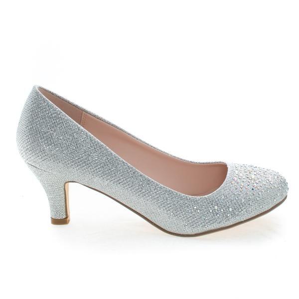 Wonda1 Silver Round Toe Low Heel Classic Dress Pump In Metallic .