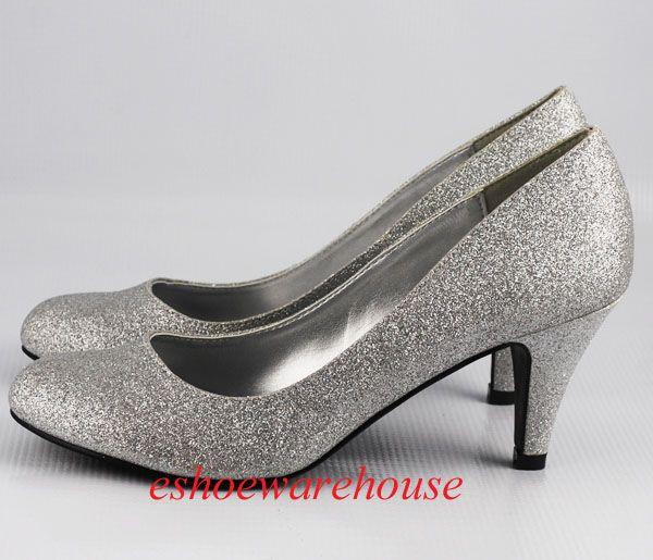 silver low heel pumps   Round Toe Cutie Comfy Mid Heel Pumps Shoes .