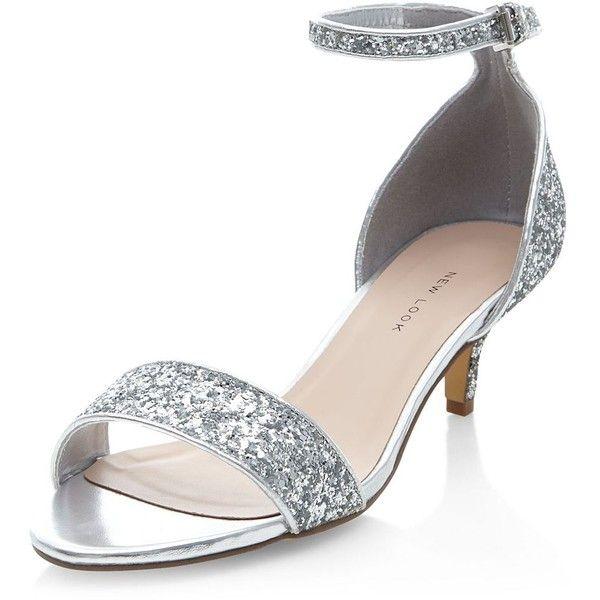 Wide Fit Silver Ankle Strap Low Kitten Heels ($31) ❤ liked on .