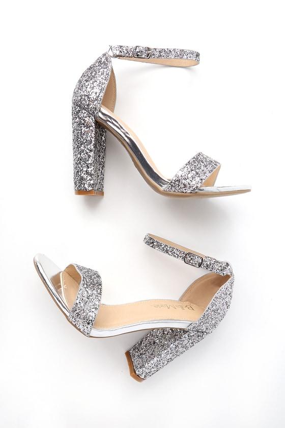 Shiny Glitter Heels - Silver Heels - Party Sho