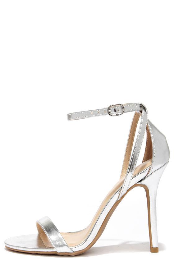 Cute Silver Heels - Ankle Strap Heels - $22.