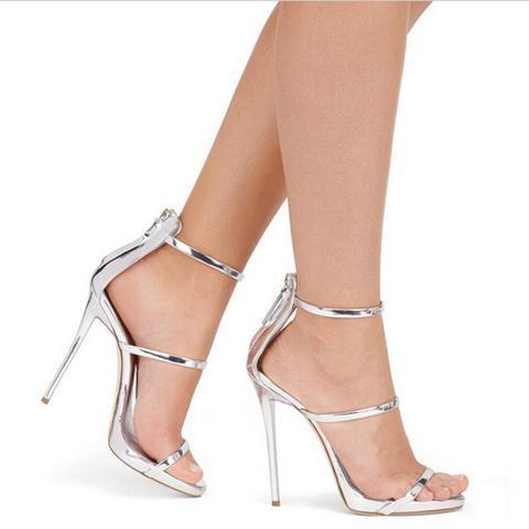 strappy heels silver - Naira Clos
