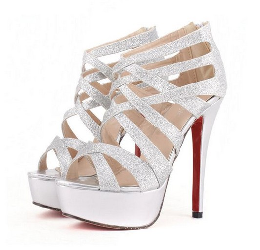 Metallic Silver Strappy High Heel Pumps on Luul