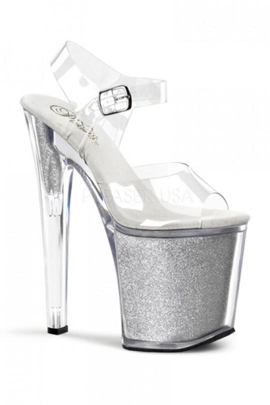 Clear Silver Strappy Glitter Platform Heels Heel Shoes online .