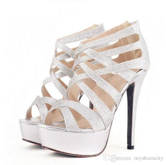 Glitter Sequined Cross Strappy Platform Stiletto Heel Shoes .