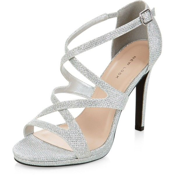 New Look Silver Glitter Strappy Heels (£25) ❤ liked on Polyvore .