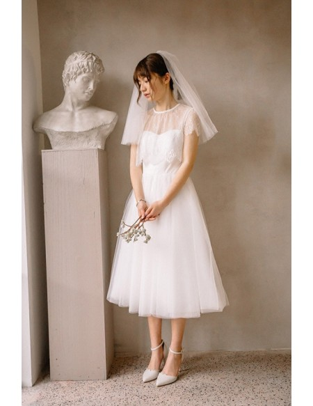 Vintage Short Tulle Tea Length Simple Wedding Dress with .