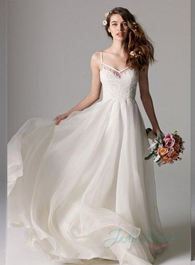 Romantic Thin Straps Low Back Organza Simple Wedding Dress .