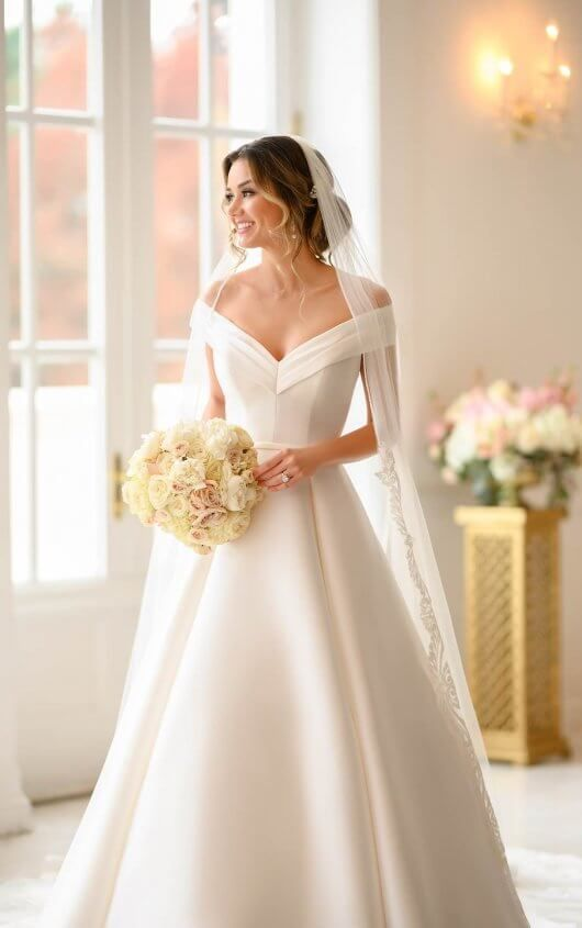 Simple Ballgown with Off-the-Shoulder Sleeves - Stella York .