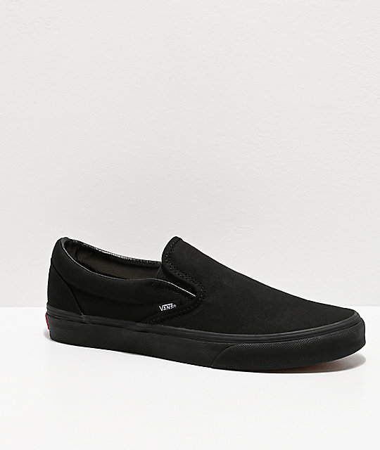 Vans Slip-On Monochromatic Black Skate Shoes   Zumi