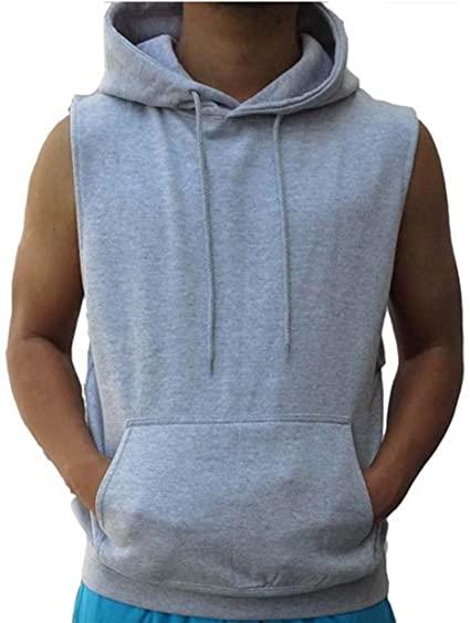 Interstate Apparel Inc Sleeveless Hoodie Vest Solid Cotton Hoodie .