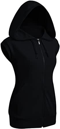 Amazon.com: CLOVERY Women's Sleeveless Hoodies Basic Hoodie Zip Up .