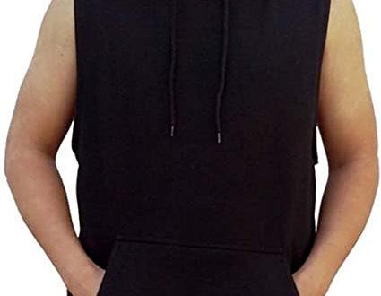 Interstate Apparel Inc Men's Solid Hoodie Vest Sleeveless Hoodie .