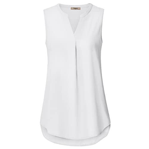 Women's White Sleeveless Top: Amazon.c