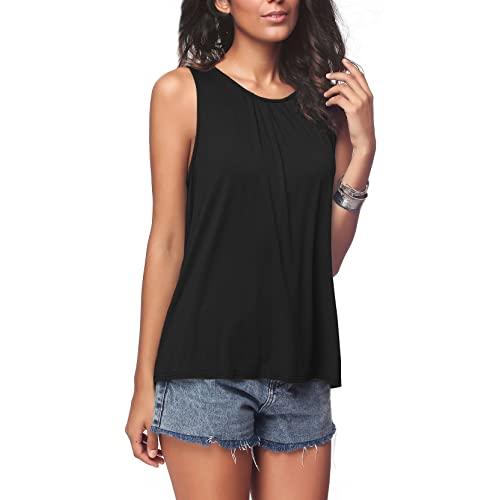 Women's Black Sleeveless Top: Amazon.c