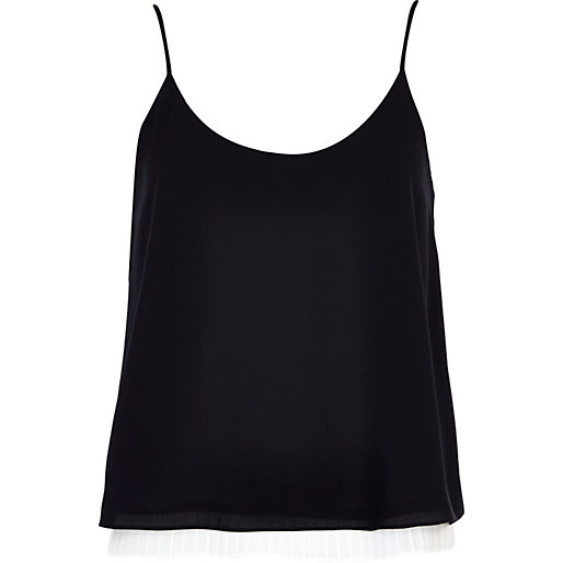 Black and white pleated hem cami top - cami / sleeveless tops - tops .