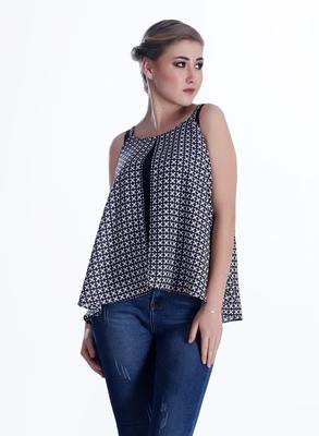 Black printed georgette sleeveless-tops - Goddess - 31471