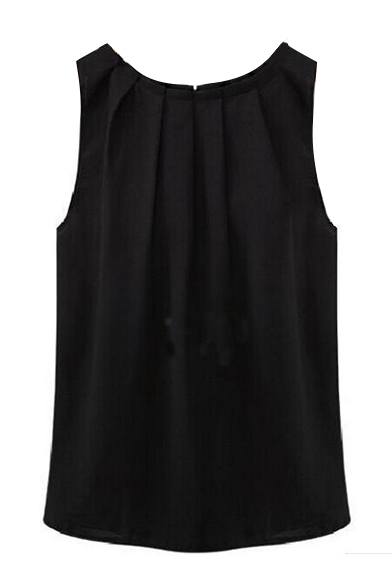 Womens Sleeveless Tops Chiffon Round Neck Pleated Blouse T-Shirt .
