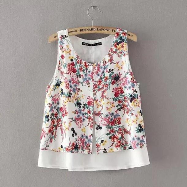 blouse, brenda-shop, crop tops, cropped, floral, floral tank top .