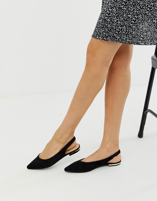 RAID Agatha black flat sling back shoes | AS