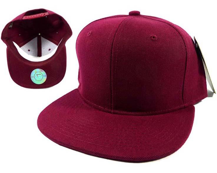 Blank Burgundy Snapback Hats Caps Wholesale - Burgundy Sol
