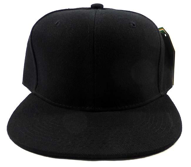 Blank Black Snapback Caps Hats Wholesale - Black Under Bi